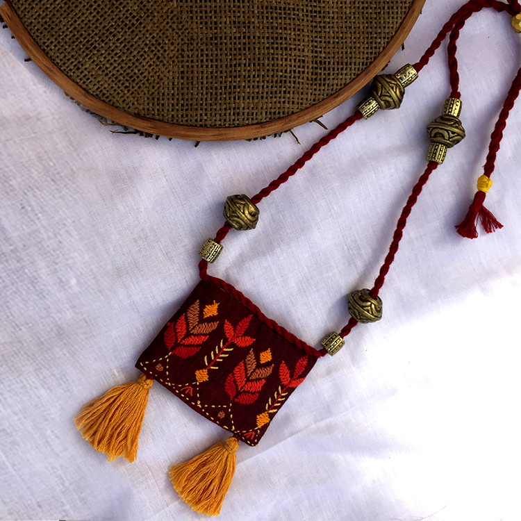 Embroidered Potli Necklace